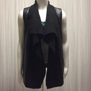 Saks Fifth Avenue Leather knit Vest Size L/G